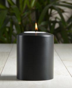 SiN! Teelichthalter Black Classic 10 cm weiss in Kerzenform, Dauerkerze mit Teelicht, Teelichtkerze in Kerzenoptik und Kerzenform, Kunststoffkerze mit Teelichteinsatz - inkl. Teelicht