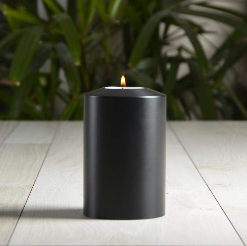 SiN! Teelichthalter Black Classic 8 cm in Kerzenform, Dauerkerze mit Teelicht, Teelichtkerze in Kerzenoptik und Kerzenform, Kunststoffkerze mit Teelichteinsatz - inkl. Teelicht