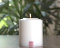 SiN! Teelichthalter Classic 8 cm weiss | Dauerkerze, Teelichtkerze, Kunststoffkerze mit Teelichteinsatz | künstliche Kerze mit Teelicht in Kerzenform & Kerzenoptik